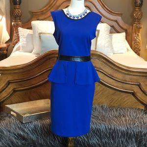 The Limited Blue Peplum Dress with Faux Leather